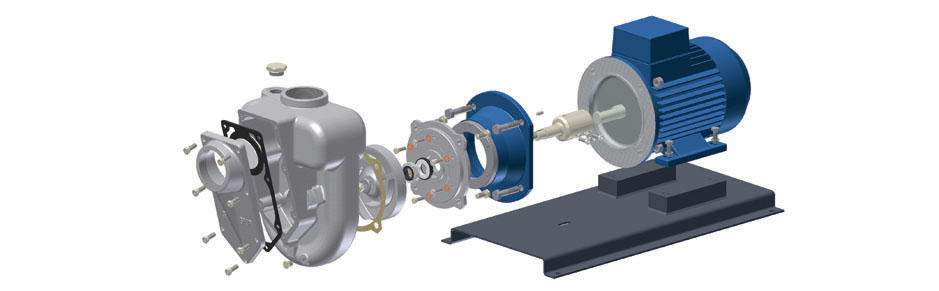 Exploded view GMP self priming pump