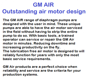 GM AIR simple motor design competes with wilden, aro, graco husky, blagdon, sandpiper and yamada